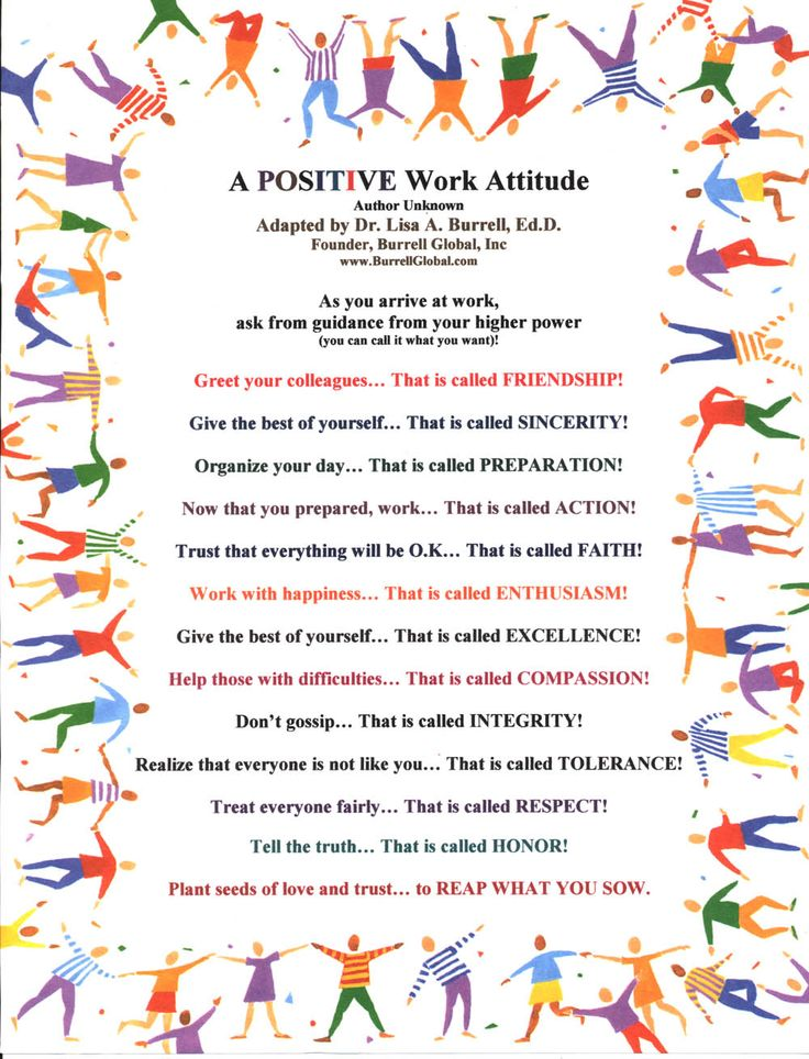 A Positive Work Attitude -- this could easily be adapted for school.