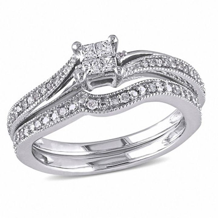 Zales 1/4 CT. T.W. Quad Princess-Cut Diamond Bypass Vintage-Style Bridal Set in 10K White Gold