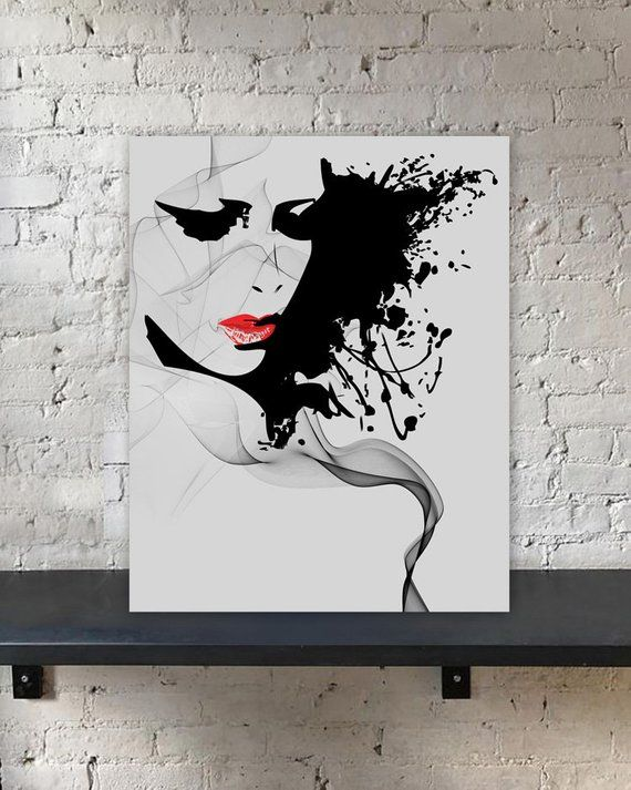 Abstract Beauty Ink Printable Portrait Print Girl Face