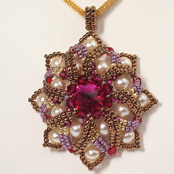Beadwoven pendant with Swarovski crystal. beaded. by Renarta