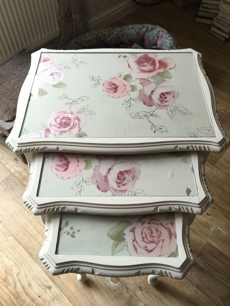 Beautiful nest of tables, painted in Annie Sloan original, waxed, decoupaged and distressed.