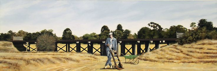 Men's Work, 2008, Copyright Rex Turnbull, Acrylic on Canvas, 50 x 150cm
