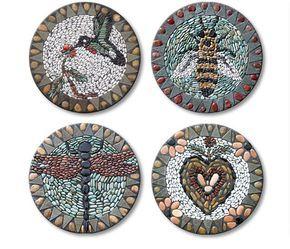 Bee pebble mosaic stepping stone