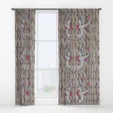 Blue & Pink Swallows Window Curtains by I Love the Quirky