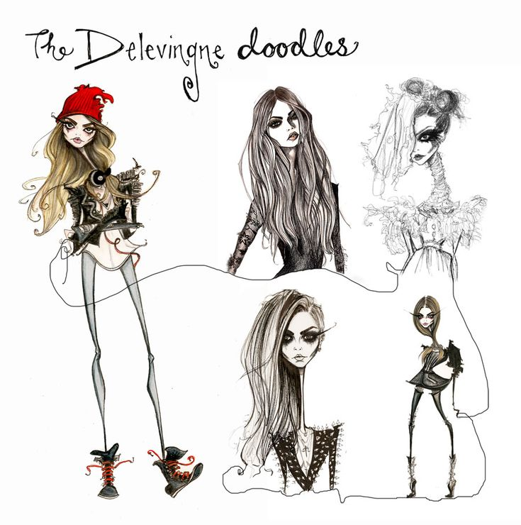Because who doesn't LOVE CARA?  Delevinge doodles by Jamie Lee Reardin.