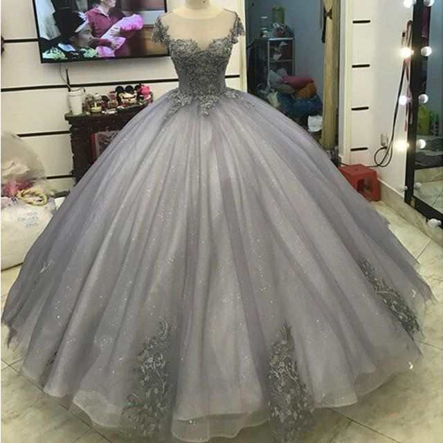 Elegant Silver Tulle Ball Gowns Prom Dresses Lace Appliques 2017