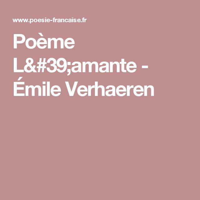Poème L'amante - Émile Verhaeren
