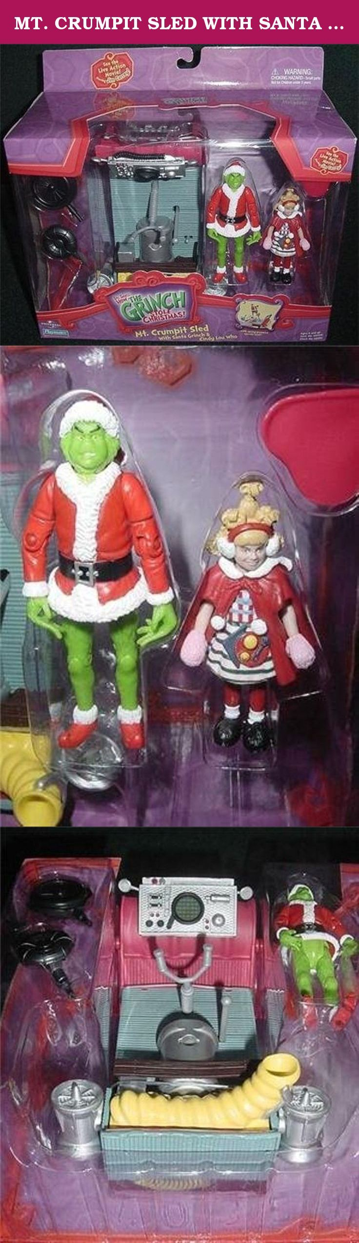 MT. CRUMPIT SLED WITH SANTA GRINCH & CINDY LOU WHO - DR. SEUSS' HOW THE GRINCH STOLE CHRISTMAS by Mcfarlane toys. Santa Grinch and Cindy Lou Who with Sled.