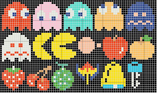 Pacman characters and objects cross stitch pattern. Free ($0).