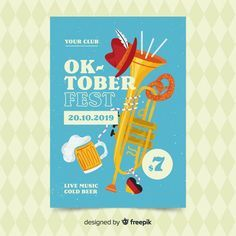 Hand drawn oktoberfest poster template. Download for free at freepik.com now! #F…