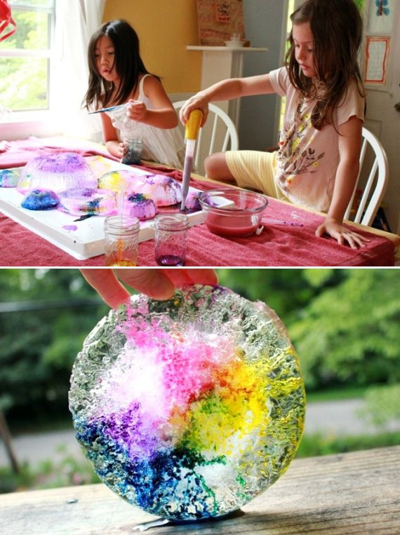 This melting ice experiment is gorgeous and colorful. | 24 Kids' Science Experiments That Adults Can Enjoy, Too