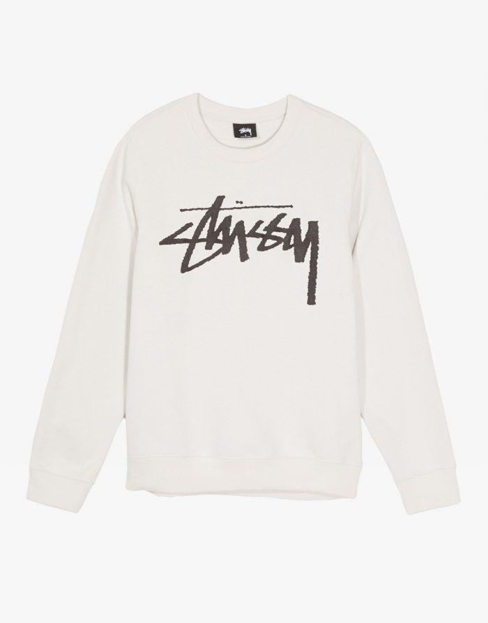 551c2c8b37c Stussy Old stock logo crewneck sweater stone