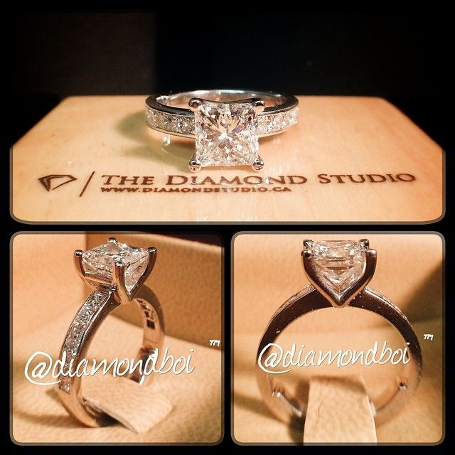 Here is the latest @diamondboi classic ring. This amazing piece was made with a 1.52ct princess cut. The diamond sits on my signature v-shaped floating head. The shank is made with princess cuts in a channel setting. OMG I LOVE THIS RING!