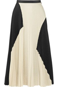 Proenza Schouler Color-block pleated cloqué midi skirt | NET-A-PORTER....... So naughty just ordered this.......: Midi Skirts, Proenza Schouler, Pleated Cloqué, Color Block Pleated, Fashion Trends, Spring, Pleated Skirts, Pleated Midi Skirt