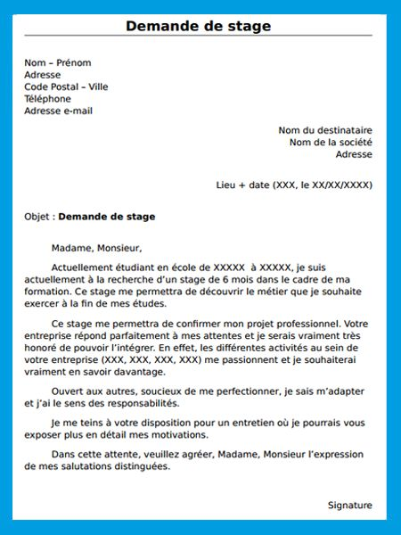 cv demade de stage
