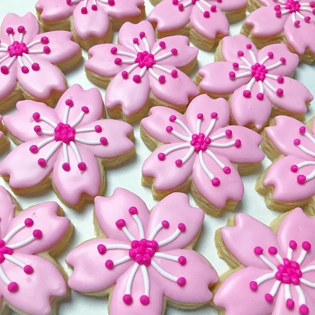 Sakura for days Since I won't be doing a girl's day/hinamatsuri open order this year, I thought I'd test out my sakura cookie cutter on some leftover dough. #decoratedcookies #customcookies #sakura #cherryblossom #cherryblossomcookies #pink #cookies #cookiesofinstagram #edibleart #madeinhawaii #flowers #flowercookies