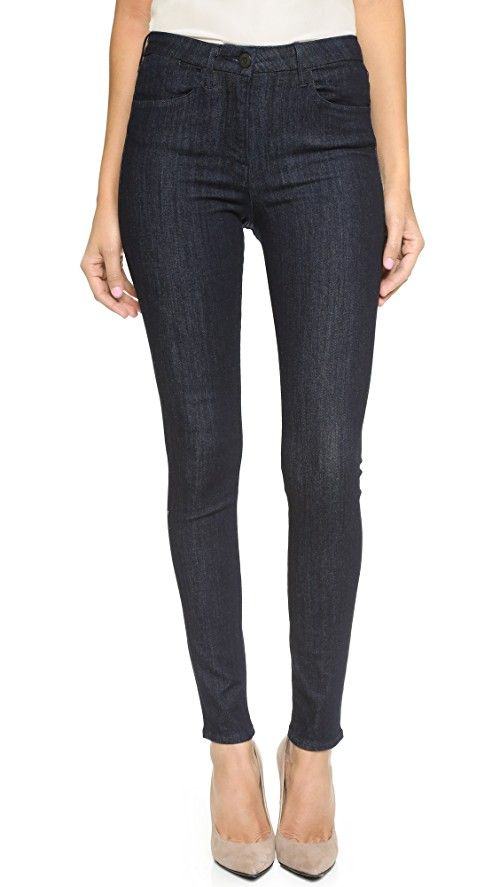 3x1 W3 Skinny Jeans | These 3x1 skinny jeans are finished with a high waist and 5-pocket styling. Single-button closure and zip fly. Fabric: Stretch denim. 92% cotton/5% polyester/3% lycra-spandex. Wash cold. Made in the USA. Imported fabric. Measurements |  Rise: 10.5in / 26.5cm Inseam: 30.75in / 78cm Leg opening: 10.25in / 26cm Measurements from size 27