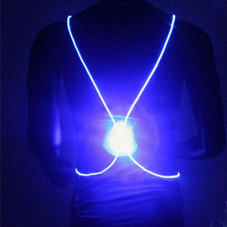 Running Cycling Reflective LED Fiber Light Safety Vest Jacket Night Sports Vests