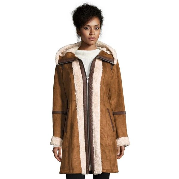 7 For All Mankind Faux Shearling Coat (850 SAR) ❤ liked on Polyvore featuring outerwear, coats, camel, sherpa coat, oversized camel coat, hooded faux shearling coat, oversized coat and brown coat