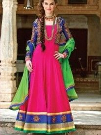 Look magnificent clad in this brilliant pink and blue anarkali suit in georgette jacquard fabric and artwork on border in hem area. The jacket has heavy embroidery all over. It carries shantung bottom and chiffon dupatta.