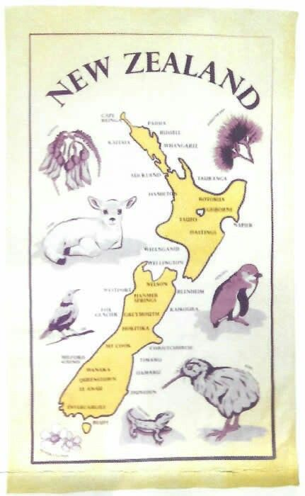 New Zealand souvenirs tea towel - www.4nz.info