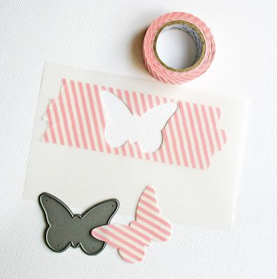 Great tip! To die cut washi tape, adhere it to vellum (so it's still translucent).