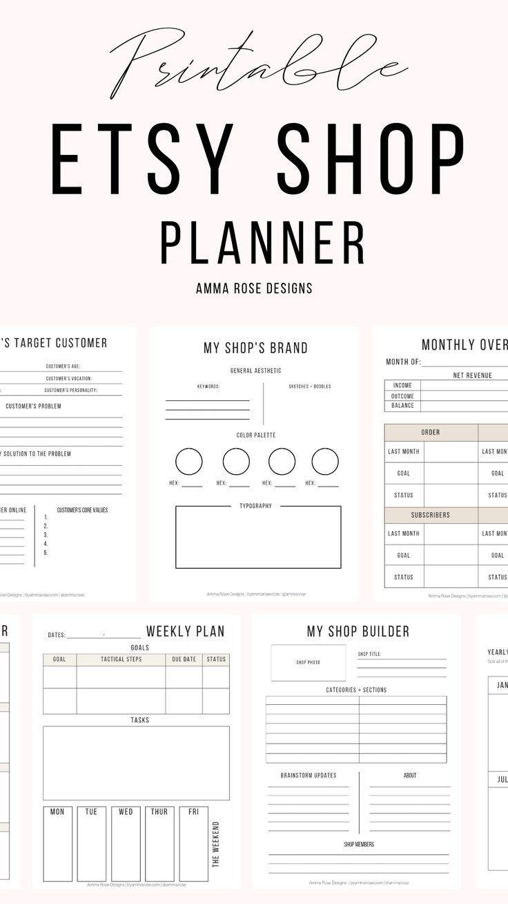Etsy Shop Planner Business Planner Etsy Seller Planner Etsy Etsy Seller Planner Business Printables Starting An Etsy Business