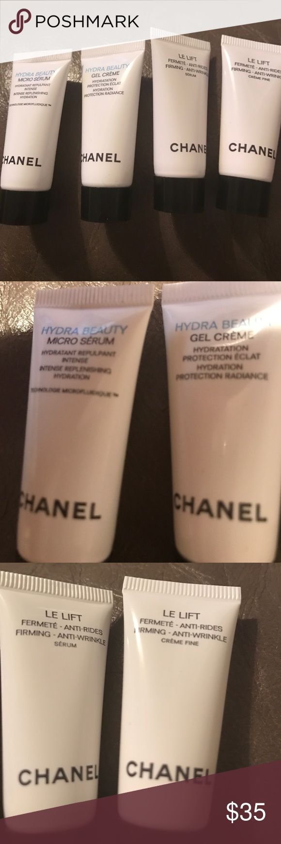Chanel face product Chanel hydra beauty micro serum 0.17 fluid ounces... Chanel hydra beauty gel cream 0.17 fluid ounces..... Chanel LE LIFT firming  serum 0.17 fl oz....Chanel LE LIFT firming creme fine 0.17 fl oz CHANEL Makeup Luminizer