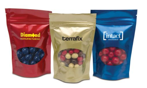 Gourmet Chocolates and Treats in a resealable bag. Made in Canada.