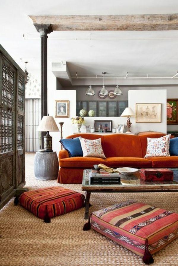 Marokkkanisches Flair Eklektisch Wohnzimmer Orange Couch Tisch Kissen Support