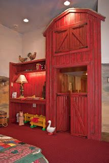 Country barn shelving and desk. So cute. I want to do the baby's room in farm decor. :)