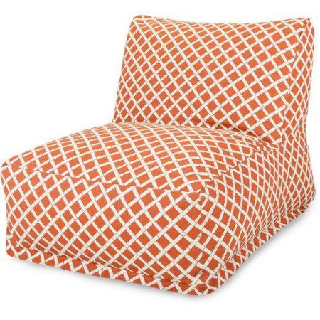 Majestic Home Goods Bamboo Bean Bag Chair Lounger, Indoor/Outdoor, Orange