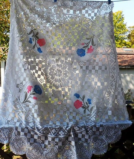 Vintage Lace Table Topper Ivory Tablecloth Lace Table Linen