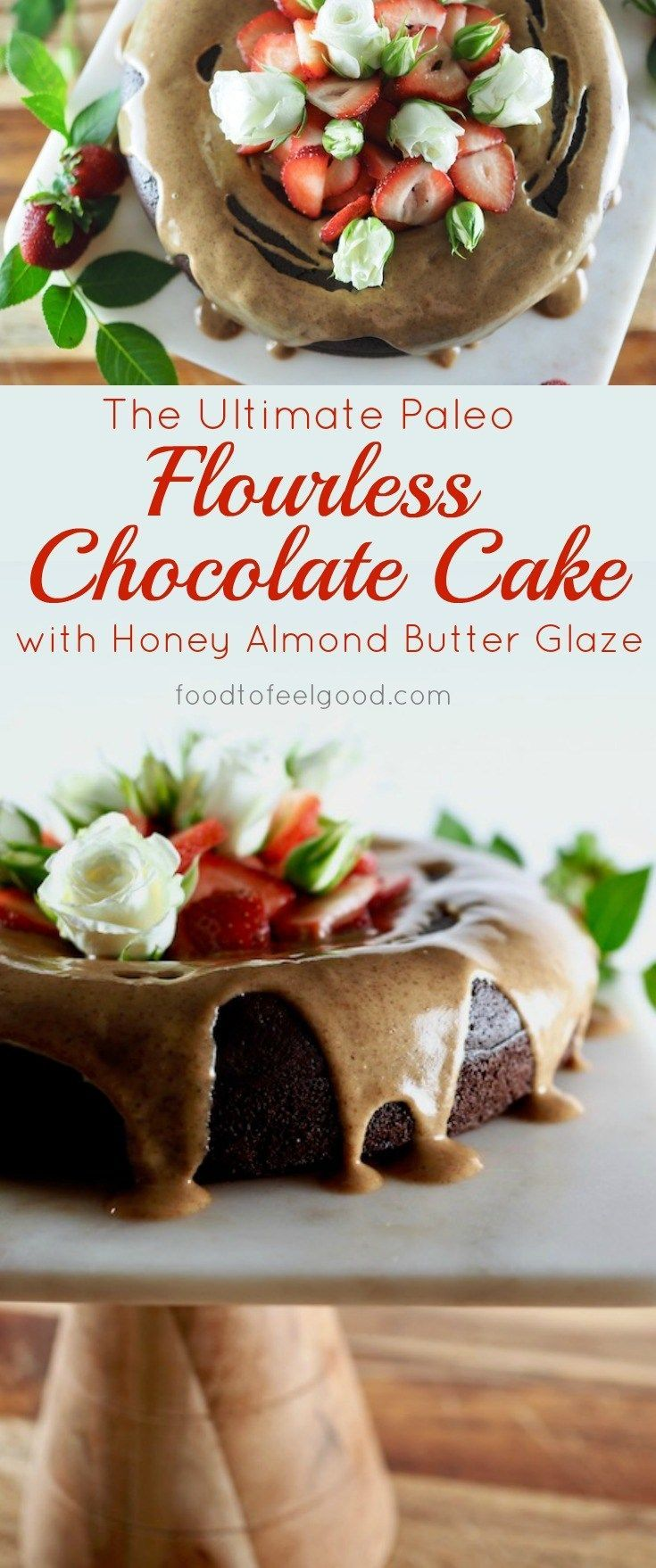 Ultimate Paleo Flourless Chocolate Cake with Honey Almond Butter Glaze | This gluten-free, dairy-free chocolate cake is so rich and decadent, yet it is a much healthier alternative than a traditional chocolate cake with cleaner ingredients and way less sugar, drizzled with a creamy Honey Almond Butter Glaze. #healthyrecipes #paleo #chocolatecake #glutenfree #dessert