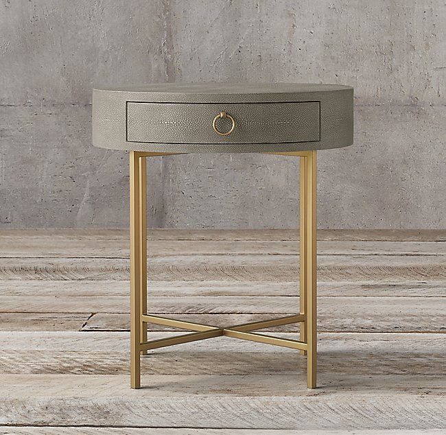 Graydon Shagreen Round Bedside Table Bedside Table Round Round