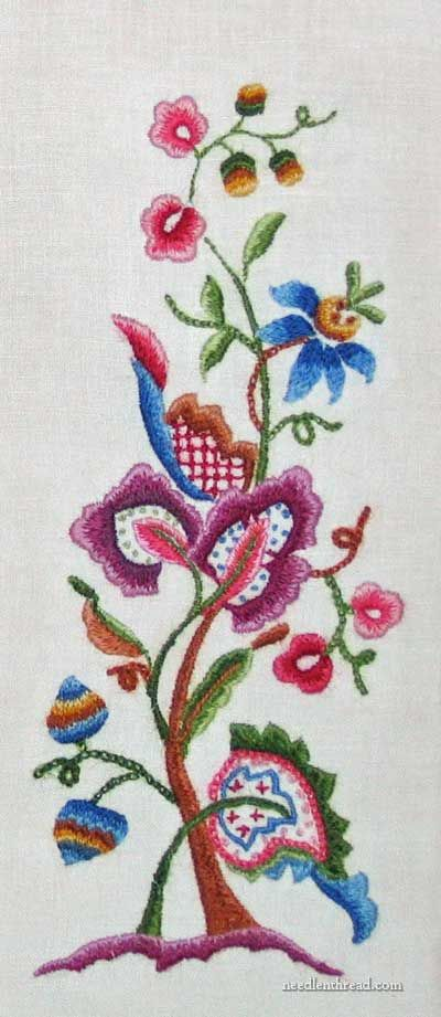 """""""Cleaning Hand Embroidery"""" - crewel embroidery stitched in the 1960′s by JoWynn's grandmother"""