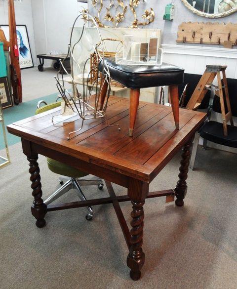 English Oak Draw Leaf Table With Stretcher Base And Barley Twist Legs.