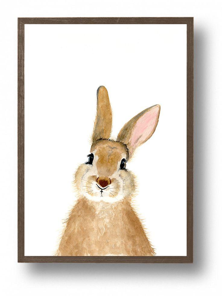 Watercolor bunny rabbit Woodland nursery Animal Paintings