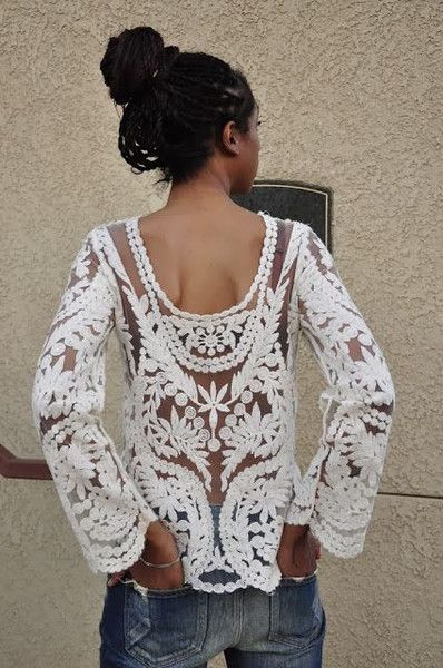 Aurora long sleeve lace blouse top                              …