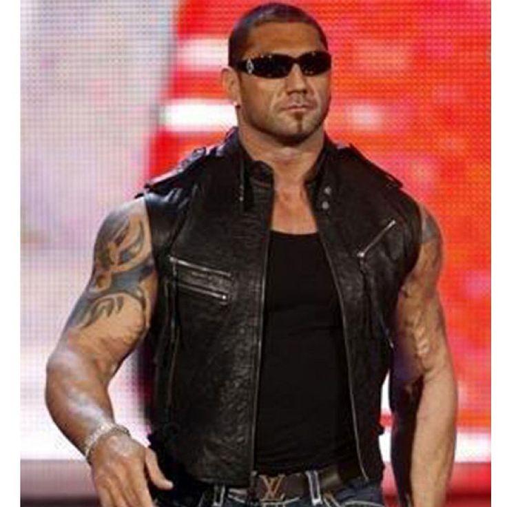 Dave Bautista WWE Wrestler Black Leather Vest,leather vest,mens vest,resler vest,black vest,Dave Bautista vest,Dave Bautista vest for sale