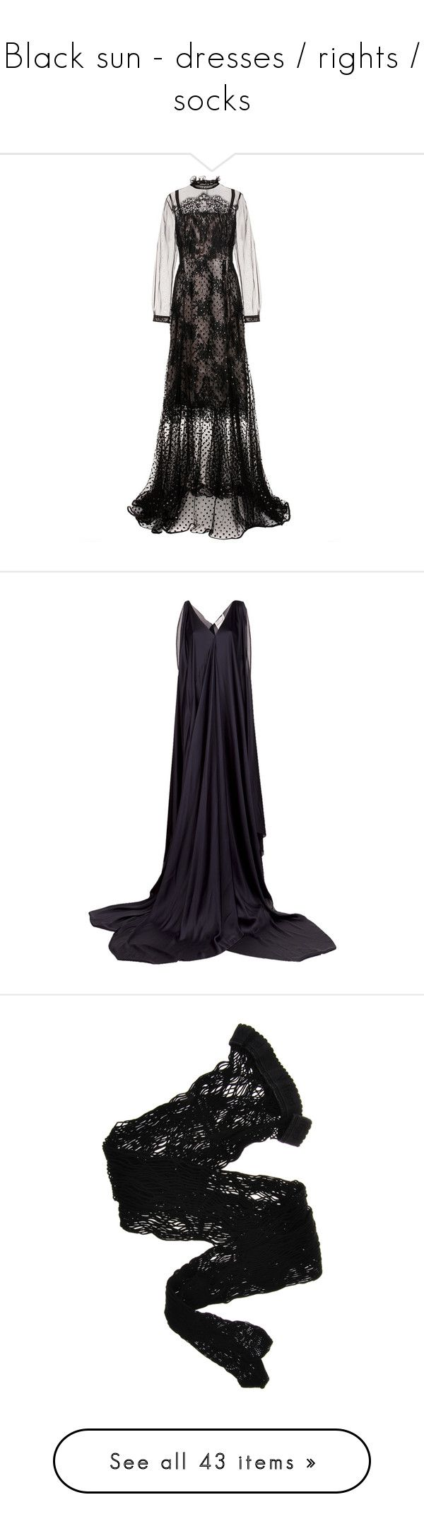 """""""Black sun - dresses / rights / socks"""" by ghosttt ❤ liked on Polyvore featuring dresses, gowns, erdem, black, cocktail/gowns, tulle ball gown, polka dot dress, holiday dresses, cocktail dresses and evening dresses"""
