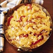 Fusilli with Three Cheeses and Red Bell Pepper Recipe at Cooking.comMac Cheese, Chees Pasta, Peppers Recipe, Mac N Cheese, Bell Peppers, Noodles Casseroles, Three Cheese, Chicken Noodles, Red Belle Peppers