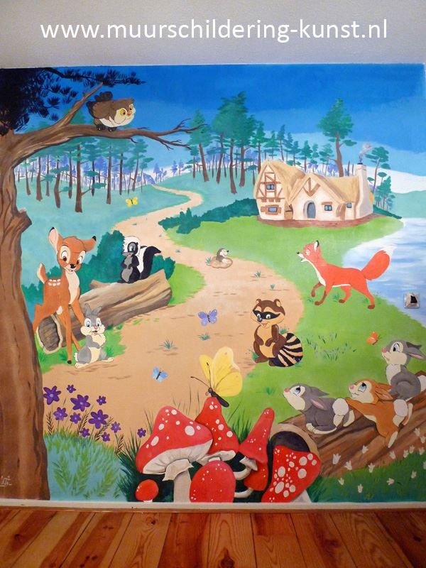 Meer dan 1000 idee n over bos babykamers op pinterest kwekerij lampen babykamers en disney - Deco muurschildering ...