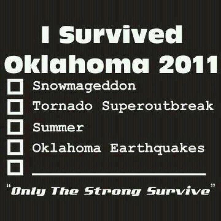 Crazy weather here in Oklahoma! Such extremes. Blizzards, tornadoes, drought/temps well above 110 all summer, earthquakes, now more tornadoes!