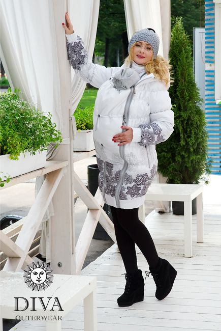 3in1 Babywearing Winter Coat Diva Bianco.  Winter coat for front carrying, regular use or during pregnancy.