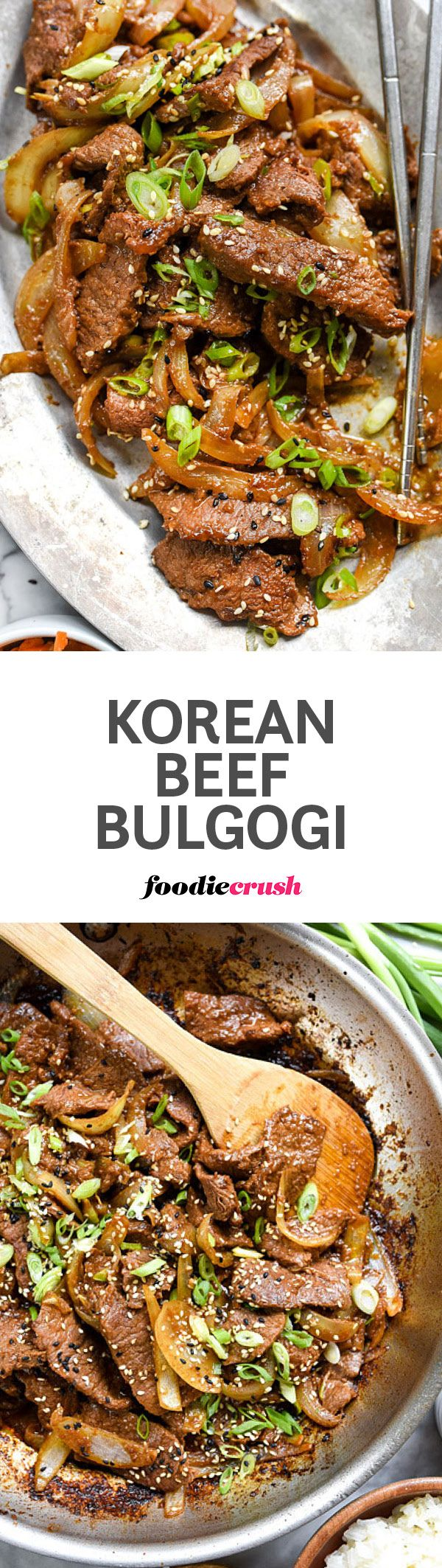 A simple but flavorful marinade of soy sauce and Korean spice paste sweetened with Asian pear makes this thinly sliced beef a stand out dinner | http://foodiecrush.com #korean #beef #bulgogi #dinner