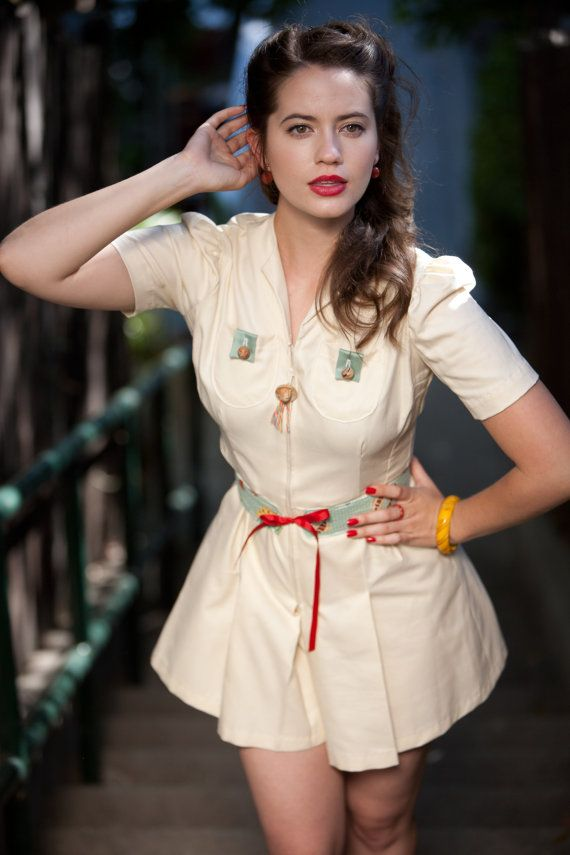 NFlirty late 1930s style rayon cream playsuit XS one by nudeedudee