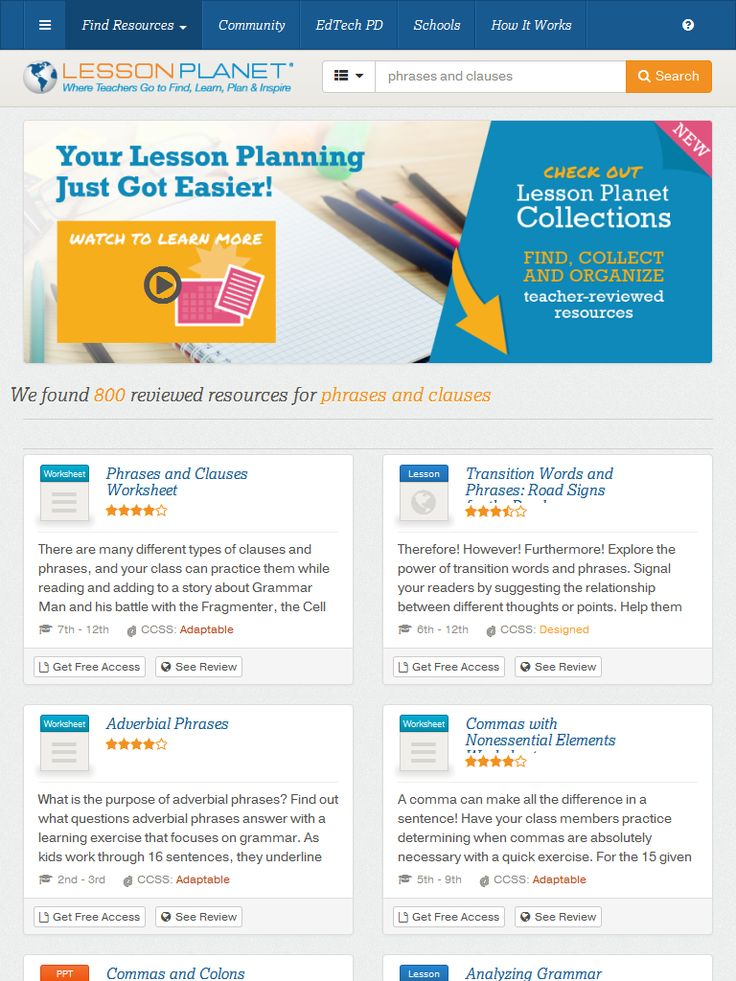Print Teacher-Reviewed Worksheets and Lesson Plans about PHRASES AND CLAUSES