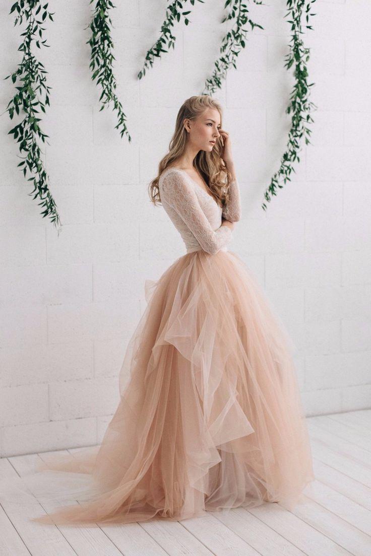 Two piece wedding dress Melanie - Jurgita bridal 2017 See more here: https://jurgitabridal.com/collections/bridal-attire/products/nude-wedding-dress-melanie