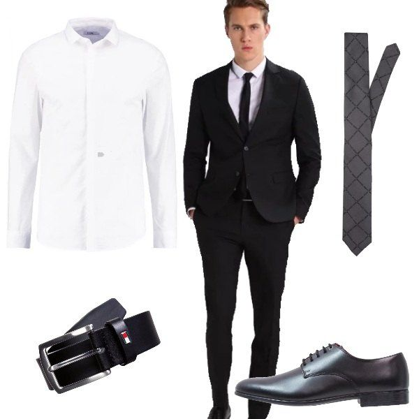 Outfit perfetto per l'uomo che ama vestire in modo classico composto da completo nero, camicia bianca, cravatta grigia, scarpe in pelle nera e cinta coordinata.